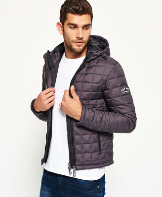 New Mens Superdry Box Quilt Fuji Jacket Charcoal