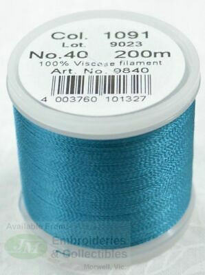 Madeira Rayon 40 Machine Embroidery Thread 200m Colour 1091 TEAL