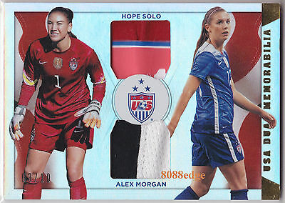2015 Panini Soccer Dual 4Cl Patch:hope Solo + Alex Morgn #3/10 National Team Usa