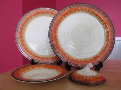 Mid 1930s Bizarre by Clarice Cliff - 2 Dinner Plates - Saucer & Pot Lid