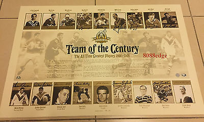2008 Centenary Of Rugby League Team Of The Century Signature Lithograph #98/200