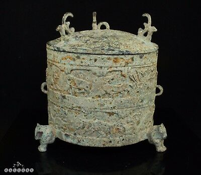 Archaic Chinese Bronze Mythical Beasts Tripod Vessel