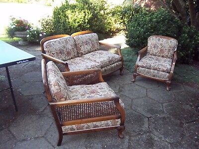 Antique 1930's Bergere 3 piece suite, settee, 2 chairs, down filled cushions