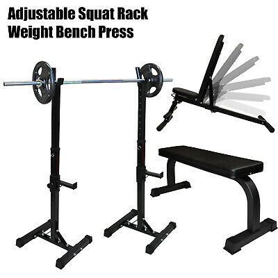 Home Gym Adjustable Squat Rack - Weight Bench Press - Barbell Bar Squat Stand