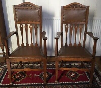 pair vintage thistle carved oak Arts and Crafts Scottish hall carver chairs