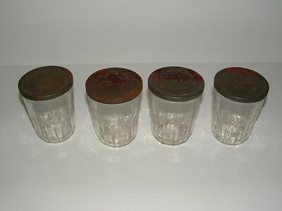 Rare Vintage Lot Of 4 Ball Glass Old Metal Lid Jelly Jam Canning Jars