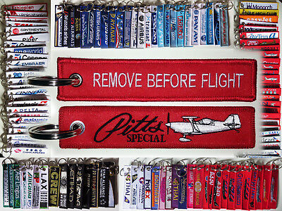 Keyring PITTS SPECIAL aircraft in red Remove Before Flight keychain for Pilots