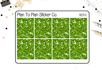 1223-5 Green Glitter Headers/Dividers Planner Stickers.