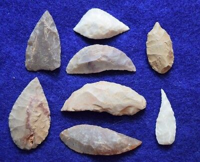 8 Sahara Neolithic interesting and varied tools, crescent blade, scrapper, etc..