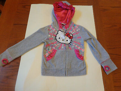 Girls Hello Kitty Velour Hooded Jacket size 6 Gray & Pink
