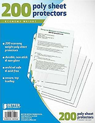 200 Clear Plastic Poly Sheet Page Protectors ACID Free Sleeves Document Office