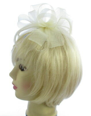 Large light cream mesh and feather fascinator hair comb, weddings, races,prom