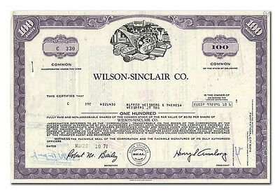 Wilson-Sinclair Co. Stock Certificate