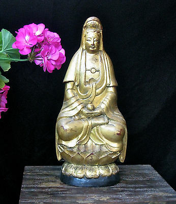 """Gilded Wooden Buddha seated on Lotus Flower 13.5"""" Tall"""