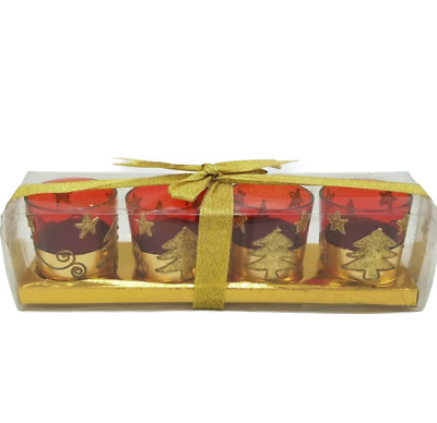 Christmas Votive Candle Holder Set Red Gold Trees Stars