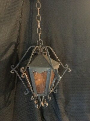 Vintage Gothic Wrought Iron Hanging Ceiling Light Lamp / Restore Mid Century