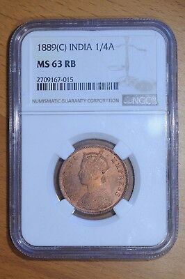 Monster Toned India 1889(C) 1/4 Anna MS63 Red Brown NGC Calcutta Mint Rev. Clash