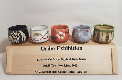 Pottery Sake or Tea Cups Set of 5 Various from Oribe Exhibition 2003 New York
