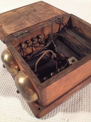 Antique Oak Wood Dove Tailed Western Electric Ringer Box ~ Wall Mount