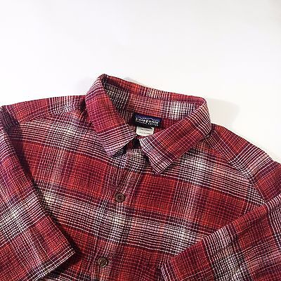 PATAGONIA Organic Cotton Check Plaid Red Outdoor Shirt Short Sleeve Size - S