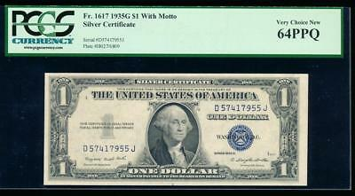 AC 1935G $1 Silver Certificate with motto PCGS 64 PPQ  Fr 1617 D-J block