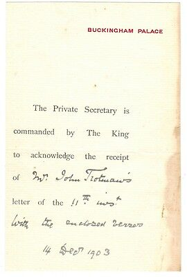 Buckingham Palace hand written note from 1903 - Royalty - King Edward 1903