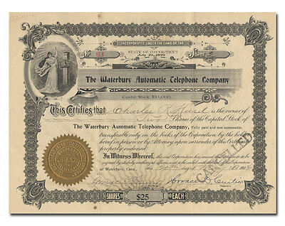 Waterbury Automatic Telephone Company Stock Certificate (Connecticut)
