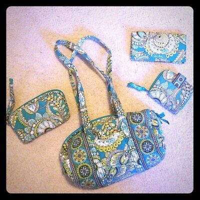 Vera Bradley Paisley Four Piece Travel Bag Set Wallet Cosmetic Bowling