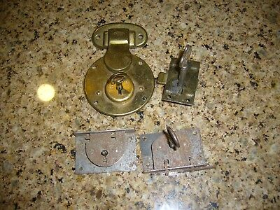 Vtg Antique Barrel Skeleton Key & Lock Set Furniture Cabinet Door