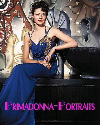 GENE TIERNEY 8x10 COLOR Lab Photo SEXY Elegant Gown Portrait Beautiful Babe