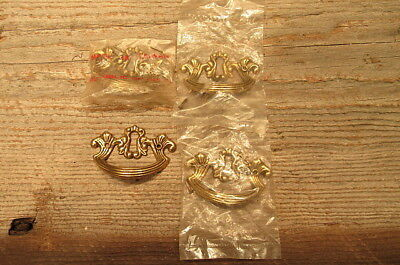 Set of 4 Vintage Brass Drawer Pulls With Key Hole Handles 3 NIP Screws Included