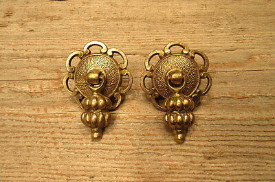 Set of 2 Vintage Brass Drawer Cabinet Pulls Handles
