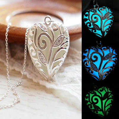 Steampunk Glowing Aqua Heart Locket Glow In The Dark Pendant Woman's Necklace