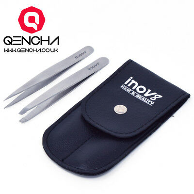 Professional Tweezers Set 2 Piece Stainless Steel with Letherette Case by Qencha