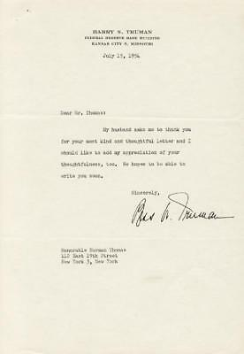 Bess W. Truman - Typed Letter Signed 07/15/1954
