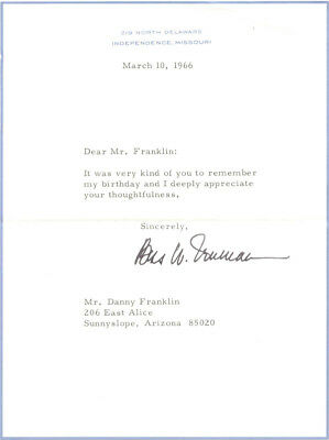 Bess W. Truman - Typed Letter Signed 03/10/1966
