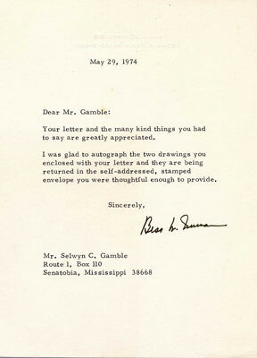 Bess W. Truman - Typed Letter Signed 05/29/1974