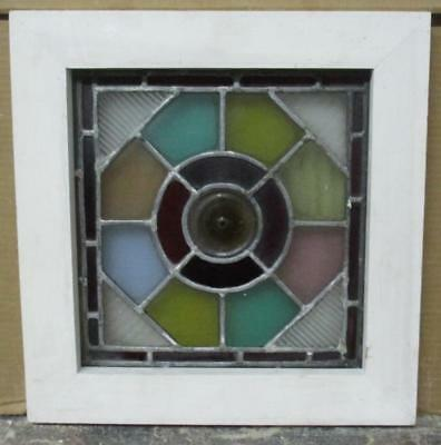 """OLD ENGLISH LEADED STAINED GLASS WINDOW Colorful Abstract Geometric 14"""" x 14.5"""""""