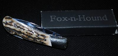 Fox-N-Hound Fa2C  Stag Handles Lockback Knife, New In Box, Mint