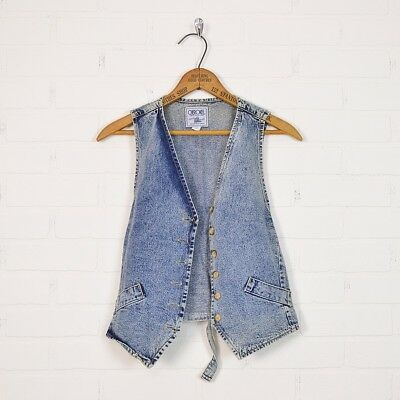 Vtg 80s 90s Grunge Acid Wash Denim Jean Skinny Vest Jacket Shirt Blouse Top S