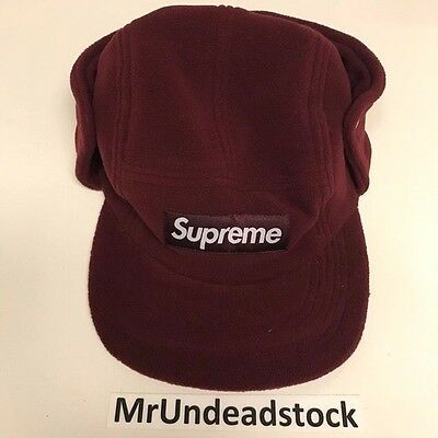 2d0afac00a3 Supreme Burgundy Polar Fleece Ear Flap Camp Cap Box Logo Bogo Hat Sz S M