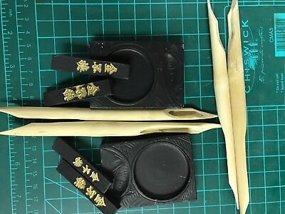 CLASS SET Chinese Calligraphy Sumi-E Ink Stick Writing Brush Paint-$25 60 pcs