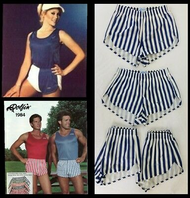 new DOLPHIN SHORTS Rare Vintage 80s STRIPED Blue White Unisex Running Nylon sz S