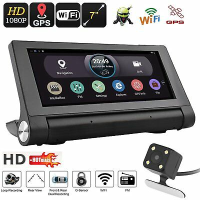 "WIFI 7"" HD 1080P Android Car Dual Camera Rear View DVR Recorder + GPS NavigatorN"