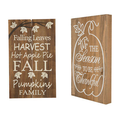Glitzhome Harvest Thanksgiving Solid Wooden Wall Hanging Sign Yard Stake Decors