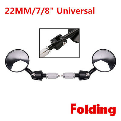 Pair Round Motorcycle CNC Aluminum Rear View Handle Bar End 7/8'' 22mm Mirrors