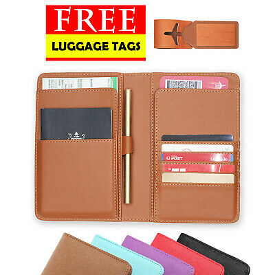 Rfid Blocking Anti Scan Travel Passport Pu Leather Wallet Pouch Cover Organizer
