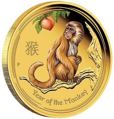 2016 $25 Australian Lunar Series Monkey 1/4 oz gold proof coloured coin