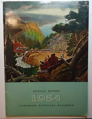 Canadian National Railways 1954 Annual Report  - with color foldout map