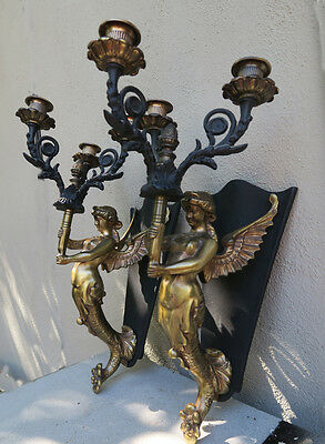 PAIR Sconces Deco Mermaid brass Plt Spelter lamp lady candlestick candle Vintage
